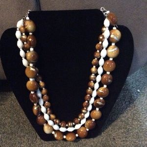 3 strand white, brown, gold necklace